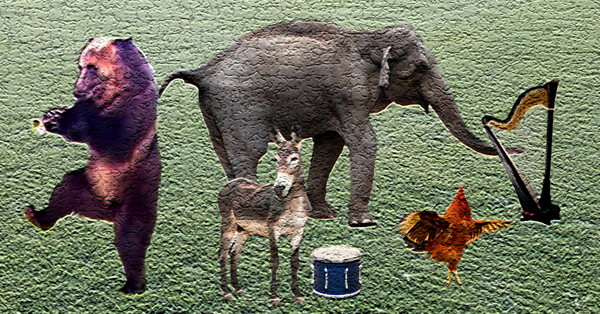 This is an illustration of the Musical Creature Band done in an abstract style. On the left is a bear playing a horn while standing on one foot. In the back is an elephant plucking the strings of a harp with its trunk. On the the right is a golden-brown rooster dancing by flapping its wings and strutting. In the front is a donkey with a white nose standing next to a blue drum.