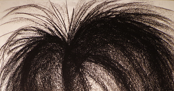 Photograph of the top portion of an abstract charcoal drawing in swooping curves with feathery edges that together are suggestive of a heart shape.