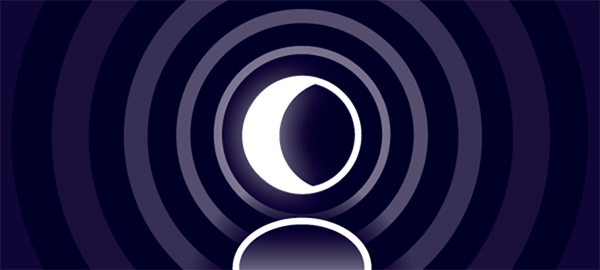 The Mythcreants podcast image is a stylized white crescent moon inside concentric rings of dark blue and purple that get darker father out.