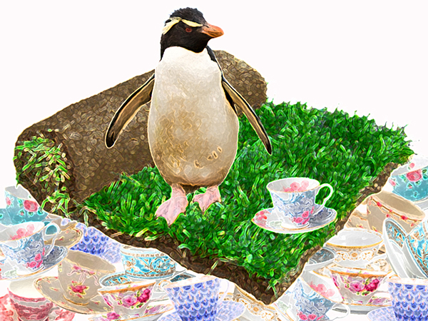 Stylized image of a penguin standing on a still partially curled square of sod that is resting on a stack of tea cups. There is one tea cup beside the penguin on top of the sod.