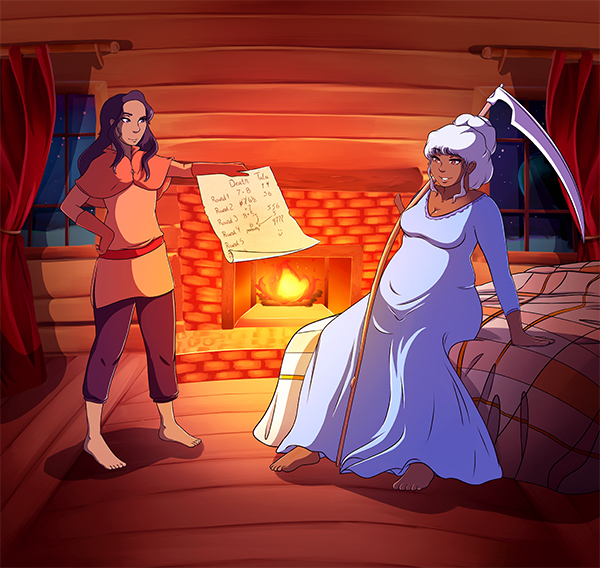 Tala stands holding a sheet of parchment with blurry numbers on it. Across from her Death, depicted as older woman with white hair, sits on a bed with her scythe casually draped over her shoulder. In the background is a fireplace with a golden fire burning in it.