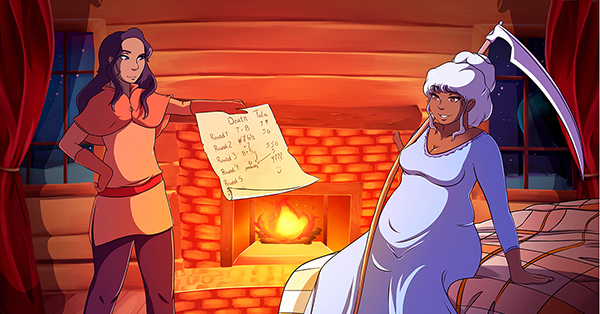 Tala stands holding a sheet of parchment with blurry numbers on it. Across from her Death, depicted as older woman with white hair, sits on a bed with her scythe casually draped over her shoulder. In the background is a fireplace with a golden fire burning in it. Illustration by Majin Roses.