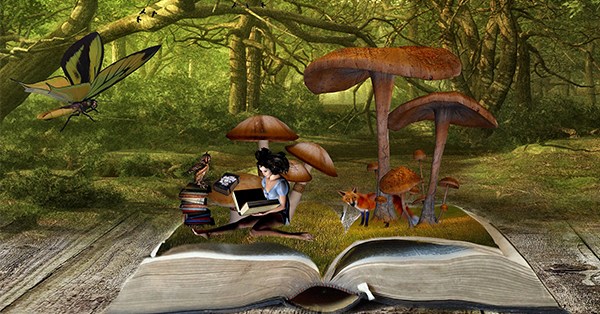 This is a picture of a large, old book that is lying open. Coming out of the book is a fairy-sized white woman with black hair. She is sitting on a field of grass underneath some large umbrella-shape mushrooms reading a small book. An owl is perched on the stack of books beside her and a red fox is hiding in the mushrooms behind her. This image is intended to invoke the magic and excitement of storytelling.