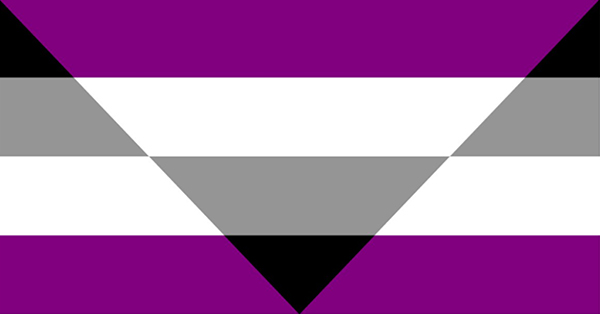 This picture is a flag that is based on the asexuality flag (which is four stripes with black at the top, then gray, white, and purple on the bottom), but which has a large triangle in the middle where the color order is reversed (purple on the top and black on the bottom). This is the aegosexual/autochorissexual flag. I am using it here because I think the flag looks awesome and because there aren't any other flags out there that are a better fit for me.