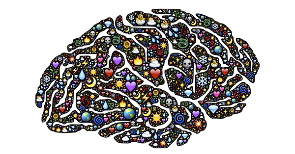 This graphic is a two-dimensional depiction of a brain created out of a varied group of pictorial emoticons. These emoticons vary in size and include: hearts, spirals, fire, diamonds, dragons, the sun, the earth, the moon, snowflakes, foot prints, skulls, and water droplets.