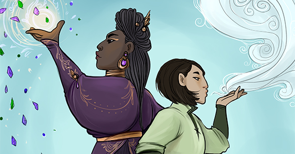 This full-color illustration depicts the characters Jewel and Min standing back to back. Jewel, a tall black woman wearing elegant purple clothing embroidered with gold, stands on the left as she tosses a handful of gemstones into the air. Min, a short tan Chinese woman wearing simple green and brown clothing, stands on the right as she blowing a swirling gust of air. Illustration by Caitlin Scannell.