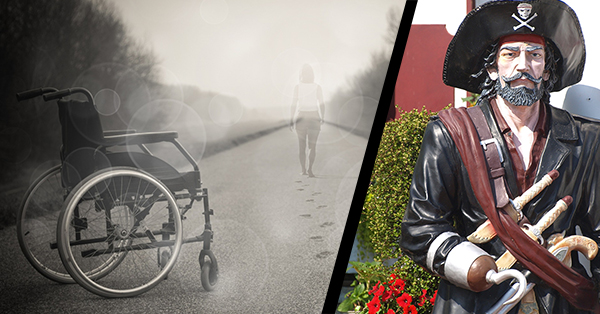 This picture illustrates two common tropes in the depiction of disability. On the left is a black and white photograph of an empty wheelchair on a road as a semi-transparent person walks away down the road. On the right is a life-sized plastic statue of Captain Hook.