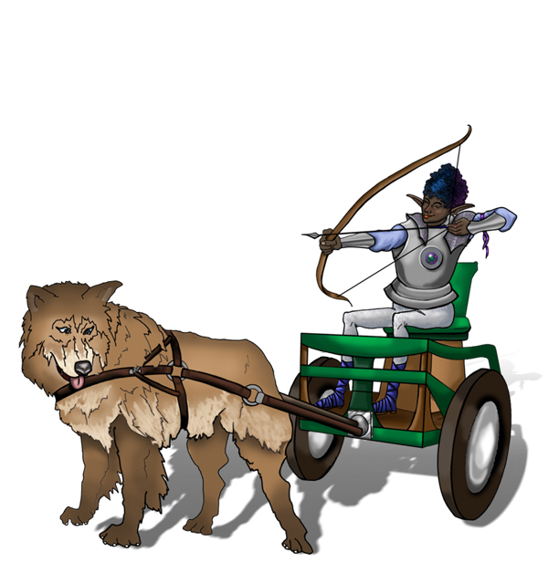 Close up illustration of Imani seated in their chariot with their bow drawn. The chariot is decorated in greens and browns and pulled by a large shaggy brown dog. Imani's metal armor is silver with blue and purple accents.