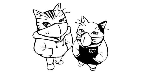 This graphic is a black and white cartoon-style drawing of two tough-looking anthropomorphized cats with their hands in their pockets, looking up enigmatically at the viewer. They are both wearing air-filtering face masks that cover their noses and mouths (these are a kind of mask often used by people with Multiple Chemical Sensitivity). The cat on the left has stripes on their face and is wearing a white hoodie. The cat on the right has a black patch on their right ear and is wearing a black and white jacket.