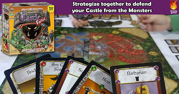 "Photograph of Castle Panic being played. In the foreground is the top half of a hand of cards. In the background is a setup game board with cards and token around it. In the top left corner is an image of the Castle Panic box with monsters and human warriors fighting in front of a stone tower. A text banner over the top reads ""Strategize together to defend your Castle from the Monsters."""