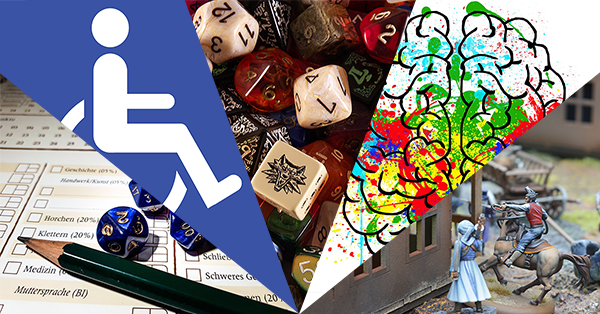 A digital artwork with slices of five images arranged in a fan. From left to right they are: a photograph of a character sheet with blue dice and a green pencil, The International Symbol of Access (a blue background with a white stylized image of a person in a wheelchair), a chaotic pile of dice in many colors and styles, splattered rainbow paints with a black and white drawing of a brain on top, and miniature houses with figurines of people in action poses.