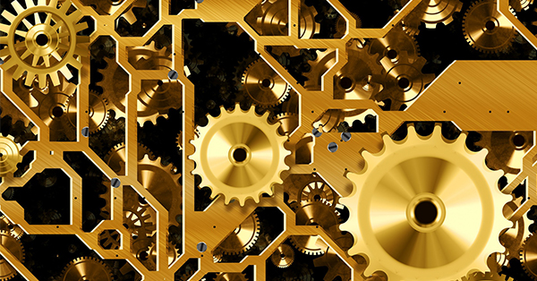 Digital artwork of an extensive set of brass gears and parts such as could be found on the inside of a particularly intricate clock. This is meant to invoke the idea of things working away out of sight.
