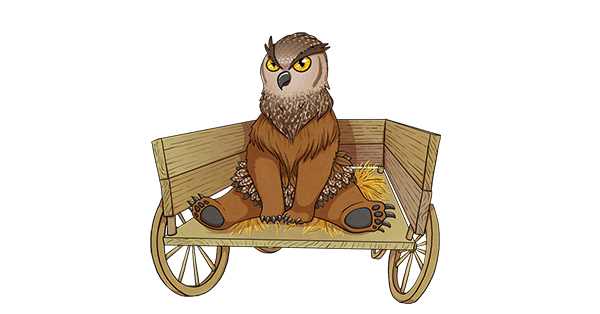 Cute and comical illustration of a brown owlbear sitting in the back of a wagon.