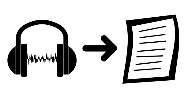 Black and white clip art depiction of audio being turned into a transcript.