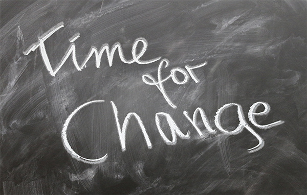 "A green chalkboard with the words ""Time for Change"" written on it in white chalk."